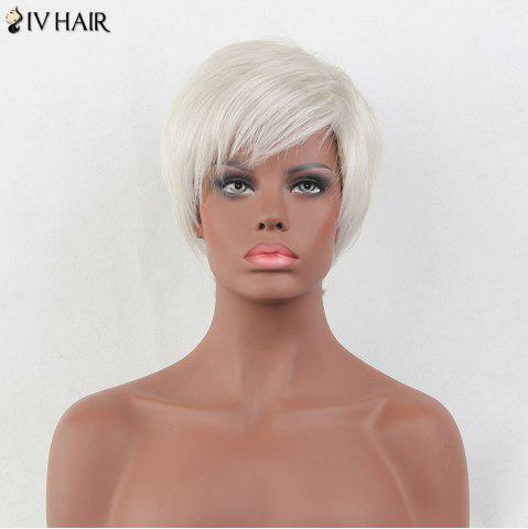 Affordable Siv Hair Short Side Bang Straight Pixie Human Hair Wig - WHITE  Mobile