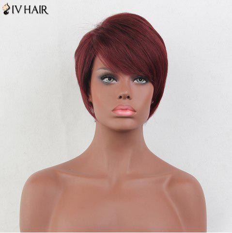 Store Siv Hair Short Layered Side Bang Straight Real Hair Wig - BURGUNDY  Mobile