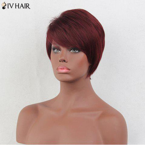 Outfit Siv Hair Short Layered Side Bang Straight Real Hair Wig - BURGUNDY  Mobile