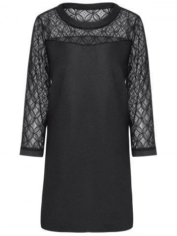 Sale Plus Size Lace Sleeve Sheath Mini  Dress BLACK 4XL