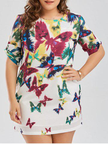 Best Butterfly Printed Plus Size Shift Dress COLORMIX 2XL