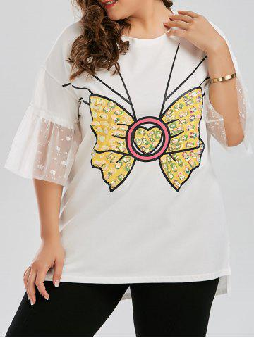 Plus Size Sequined Bowknot Long Preppy Bell Sleeve T-shirt - White - 4xl