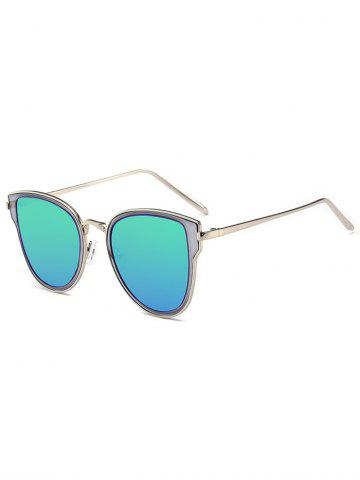 Outfit Metallic Frame Butterfly Mirrored Sunglasses - SILVER FRAME+BLUE MERCURY LENS  Mobile