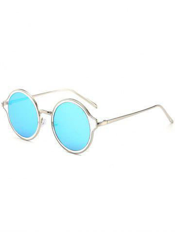 Store Vintage Metal Frame Round Mirrored Sunglasses - SILVER FRAME + BLUE LENS  Mobile