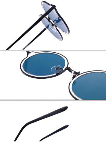 Outfit Vintage Metal Frame Round Mirrored Sunglasses - SILVER FRAME + BLUE LENS  Mobile