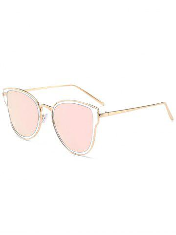 Metallic Frame Butterfly Mirrored Sunglasses - Silver Frame+grey Lens