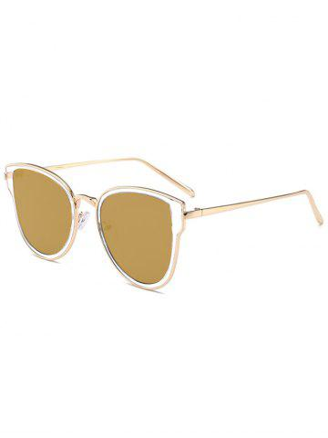 Metallic Frame Butterfly Mirrored Sunglasses - Gole Frame + Gold Lens