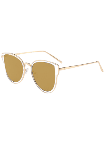 Sale Metallic Frame Butterfly Mirrored Sunglasses - GOLE FRAME + GOLD LENS  Mobile