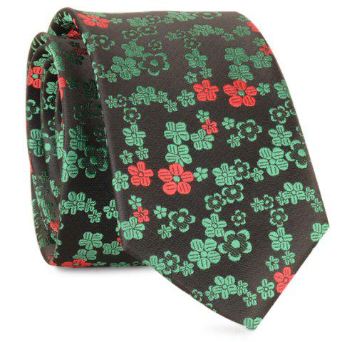Cheap Tiny Floral Jacquard Neck Tie - GREEN  Mobile