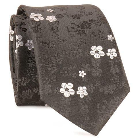 Sale Tiny Floral Jacquard Neck Tie - FULL BLACK  Mobile