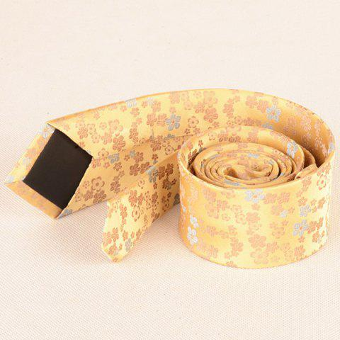 Discount Tiny Floral Jacquard Neck Tie - YELLOW  Mobile