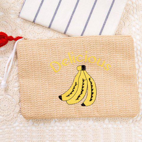 Affordable Banana Embroidery Straw Clutch Bag - BEIGE  Mobile