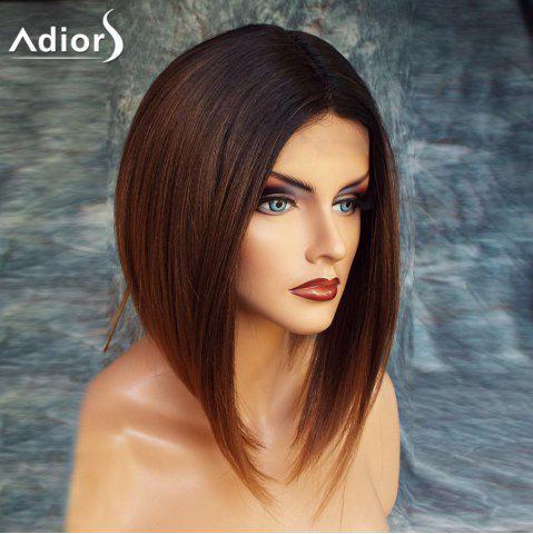 Buy Adiors Short High Low Center Parting Straight Bob Colormix Synthetic Wig - 12INCH BLACK AND BROWN Mobile