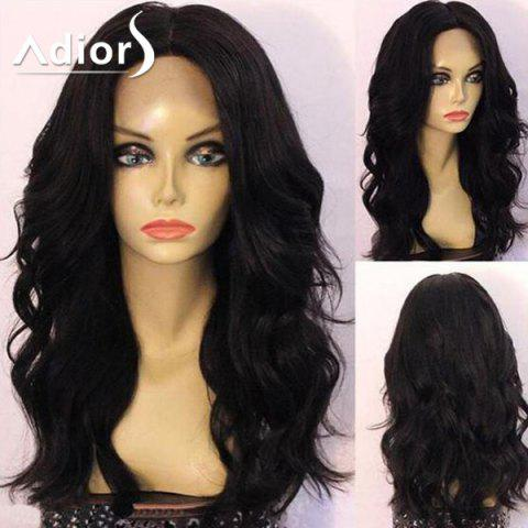Outfit Adiors Long Center Part Shaggy Wavy Synthetic Wig - 24INCH BLACK Mobile