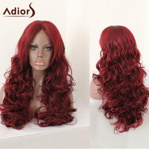 New Adiors Middle Parting Shaggy Layered Long Curly Synthetic Wig - 28INCH DARK RED Mobile