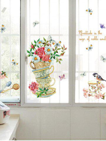 Online Home Decor Floral Bird Butterfly Quote Wall Sticker - 50*70CM FLORAL Mobile
