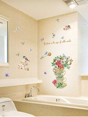 Affordable Home Decor Floral Bird Butterfly Quote Wall Sticker - 50*70CM FLORAL Mobile