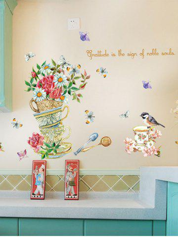 Home Decor Floral Bird Butterfly Quote Wall Sticker - Floral - 50*70cm