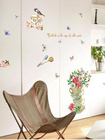 Fashion Home Decor Floral Bird Butterfly Quote Wall Sticker - 50*70CM FLORAL Mobile
