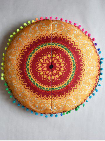 Fashion Mandala Round Decorative Pouf Pillow Case - DIAMETER: 45CM EARTHY Mobile