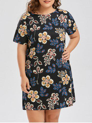 Discount Floral Plus Size Sheath Knee Length Dress BLACK 5XL