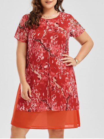 Hot Floral Print Shift Plus Size Chiffon Dress ORANGE RED 3XL