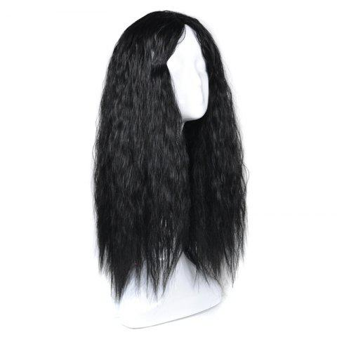 Unique Lolita Long Center Part Corn Hot Curly Cosplay Synthetic Wig - BLACK  Mobile