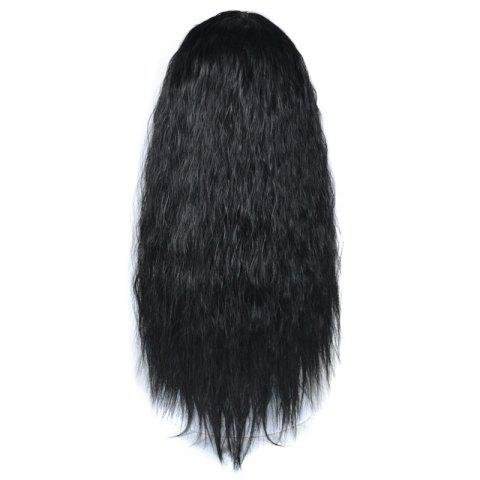 Online Lolita Long Center Part Corn Hot Curly Cosplay Synthetic Wig - BLACK  Mobile