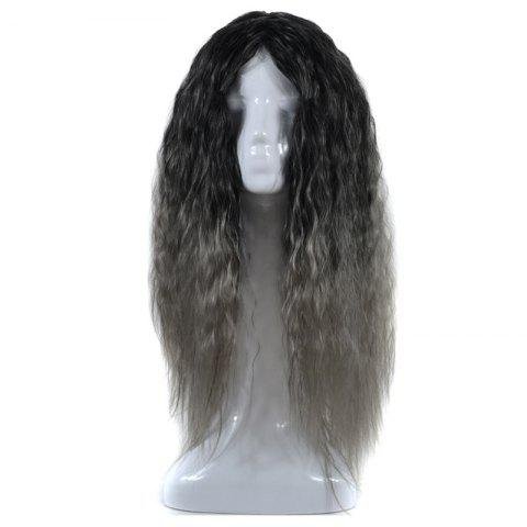 Shop Lolita Colormix Long Center Part Corn Hot Curly Cosplay Synthetic Wig BLACK GRAY