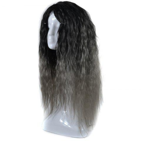 Unique Lolita Colormix Long Center Part Corn Hot Curly Cosplay Synthetic Wig - BLACK GRAY  Mobile