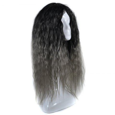 Online Lolita Colormix Long Center Part Corn Hot Curly Cosplay Synthetic Wig - BLACK GRAY  Mobile