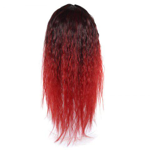 Outfits Lolita Colormix Long Center Part Corn Hot Curly Cosplay Synthetic Wig - BLACK AND RED  Mobile