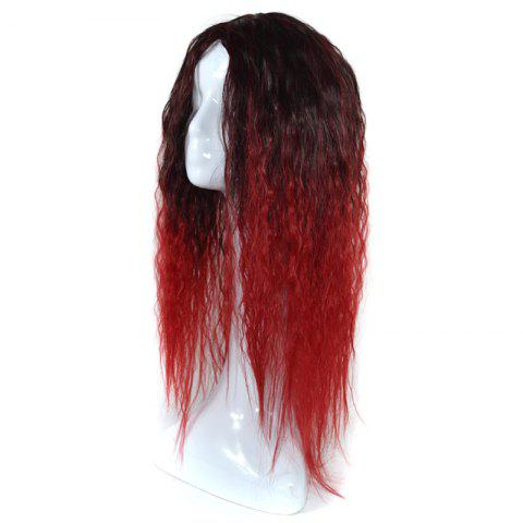 Latest Lolita Colormix Long Center Part Corn Hot Curly Cosplay Synthetic Wig - BLACK AND RED  Mobile