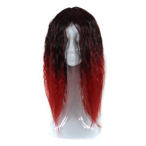 Unique Lolita Colormix Long Center Part Corn Hot Curly Cosplay Synthetic Wig BLACK AND RED