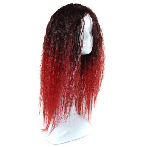 Online Lolita Colormix Long Center Part Corn Hot Curly Cosplay Synthetic Wig - BLACK AND RED  Mobile