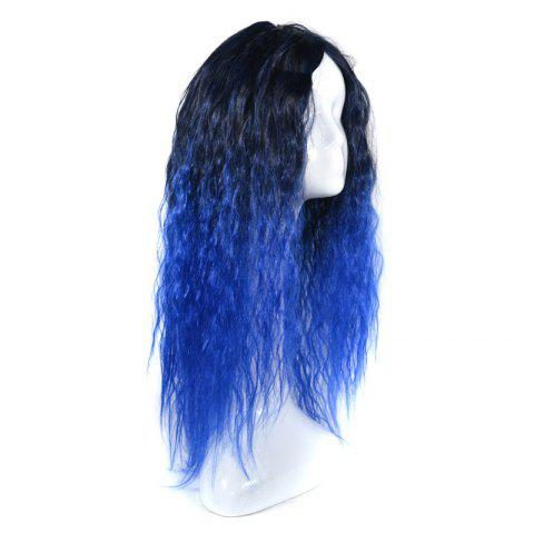 Latest Lolita Colormix Long Center Part Corn Hot Curly Cosplay Synthetic Wig - BLACK AND BLUE  Mobile