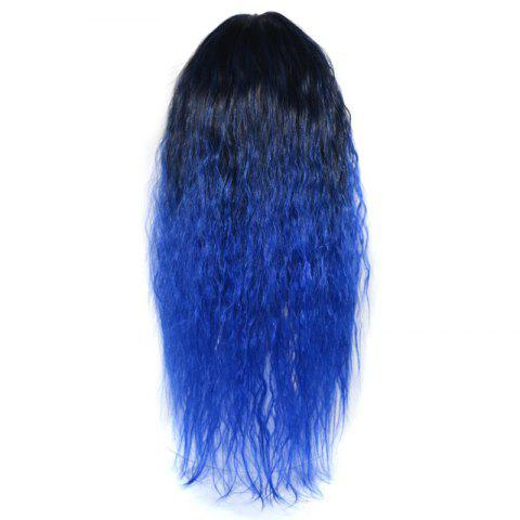New Lolita Colormix Long Center Part Corn Hot Curly Cosplay Synthetic Wig - BLACK AND BLUE  Mobile