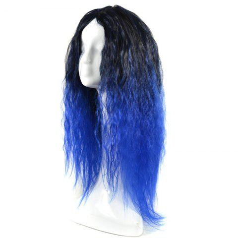 Outfits Lolita Colormix Long Center Part Corn Hot Curly Cosplay Synthetic Wig - BLACK AND BLUE  Mobile