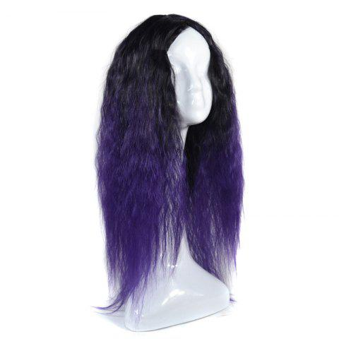 Outfits Lolita Colormix Long Center Part Corn Hot Curly Cosplay Synthetic Wig - BLACK AND PURPLE  Mobile