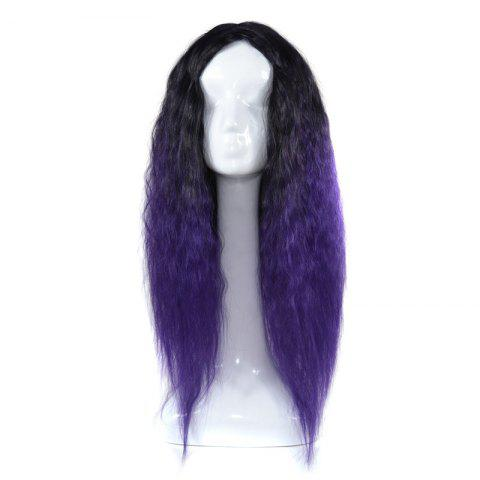 Latest Lolita Colormix Long Center Part Corn Hot Curly Cosplay Synthetic Wig BLACK AND PURPLE