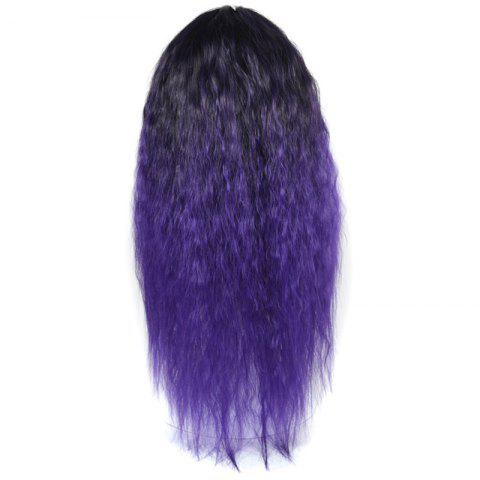 Store Lolita Colormix Long Center Part Corn Hot Curly Cosplay Synthetic Wig - BLACK AND PURPLE  Mobile
