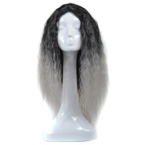Outfits Lolita Shaggy Middle Part Long Curly Corn Hot Ombre Synthetic Wig BLACK GRAY