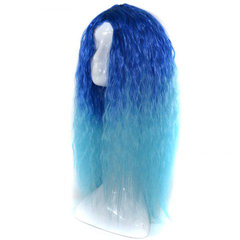 Shops Lolita Shaggy Middle Part Long Curly Corn Hot Ombre Synthetic Wig - BLUE  Mobile