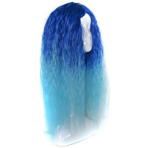 Store Lolita Shaggy Middle Part Long Curly Corn Hot Ombre Synthetic Wig - BLUE  Mobile