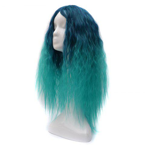 Outfit Lolita Shaggy Middle Part Long Curly Corn Hot Ombre Synthetic Wig - GREEN  Mobile