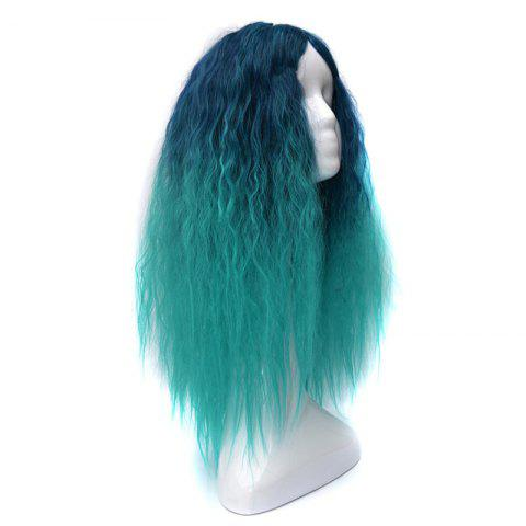 Shops Lolita Shaggy Middle Part Long Curly Corn Hot Ombre Synthetic Wig - GREEN  Mobile