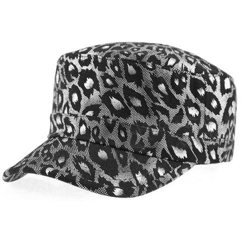 Flat Top Shimmer Leopard Printing Military Hat - Silver - S