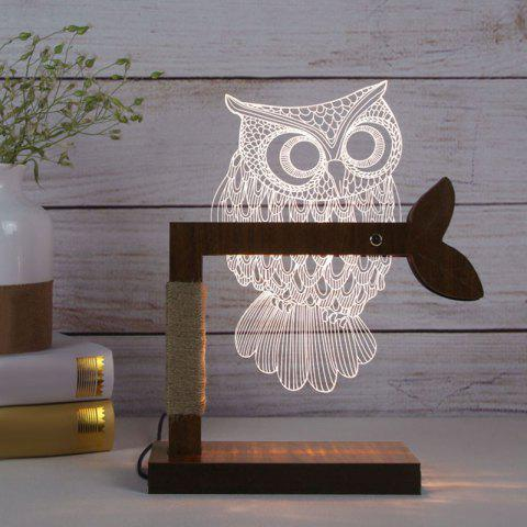 Outfits 3D Acrylic Owl Wooden Base Desk Lamp - US PLUG WHITE Mobile