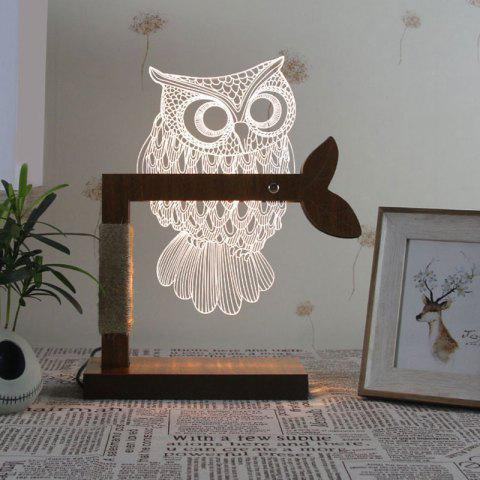 Discount 3D Acrylic Owl Wooden Base Desk Lamp - US PLUG WHITE Mobile