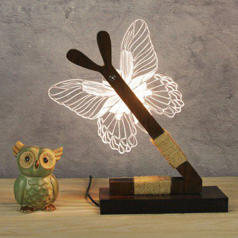 Outfit 3D Stereoscopic Butterfly Home Decoration LED Desk Lamp - US PLUG WHITE Mobile